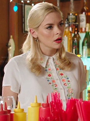 Lemon's white shirtdress with floral embroidery on Hart of Dixie