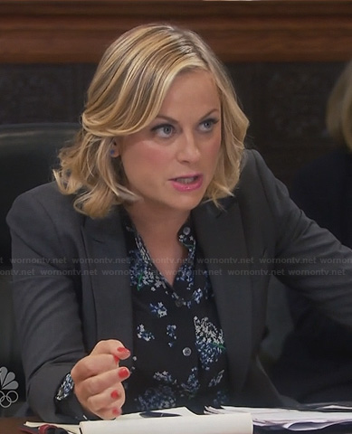 Leslie's black floral top on Parks & Rec