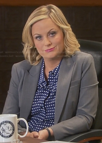Leslie's navy blue polka dot shirt on Parks and Recreation