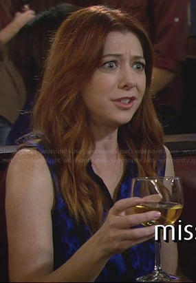 Lily's blue sleeveless leopard print top on How I Met Your Mother