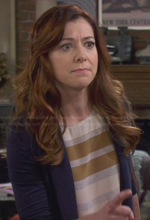 Lily's grey and brown striped top on How I Met Your Mother