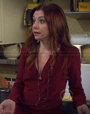 Lily's burgundy longsleeve dress on HIMYM