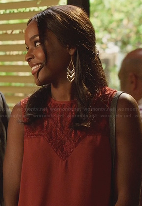 Lynly's rust orange lace top on Hart of Dixie