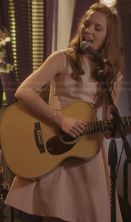 Maddie's pink dress with bow back at the wedding on Nashville