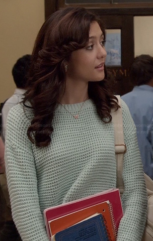 Maggie's mint green knit sweater on The Carrie Diaries