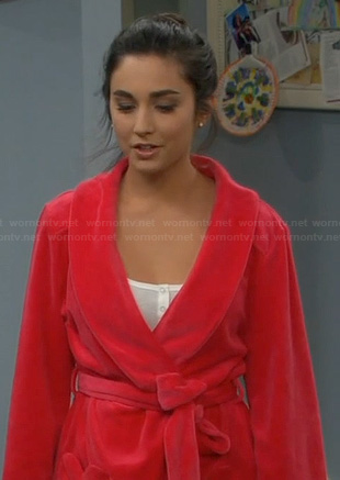 Mandy's ruffled bathrobe on Last Man Standing