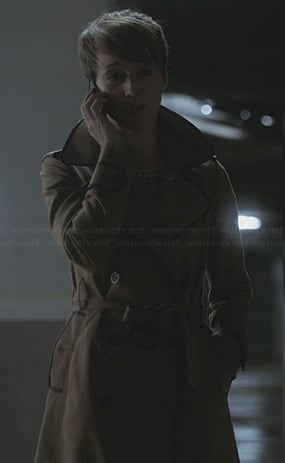Margaux's leather trim coat on Revenge