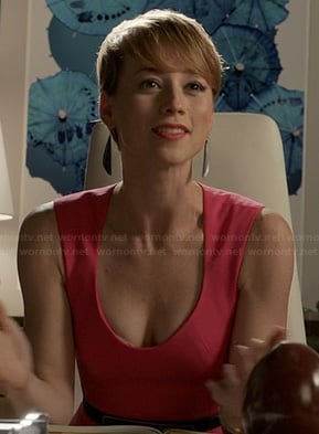 Margaux's hot pink low cut dress on Revenge