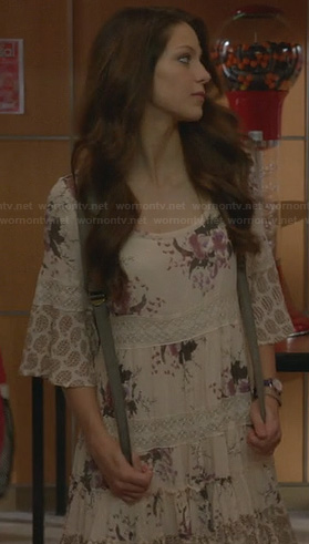 Marley's white and purple floral lace dress on Glee