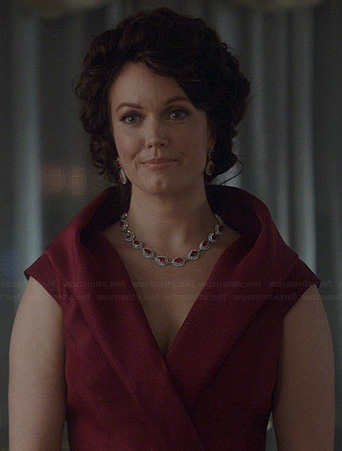 Mellies burgundy wrap style gown on Scandal
