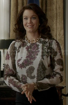 Mellie's purple printed blouse on Scandal