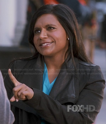 Mindy's black leather trim jacket on The Mindy Project
