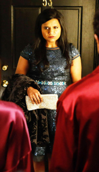 Mindy's blue sequin dress on The Mindy Project