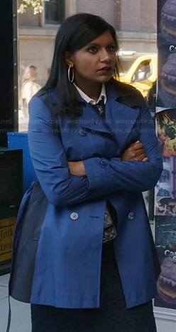 Mindy's blue colorblock trench coat on The Mindy Project