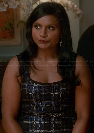 Mindy's blue and metallic check print dress on The Mindy Project