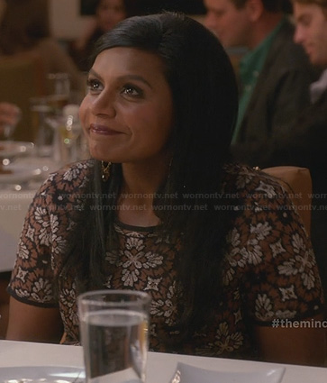 Mindy's brown floral top on The Mindy Project