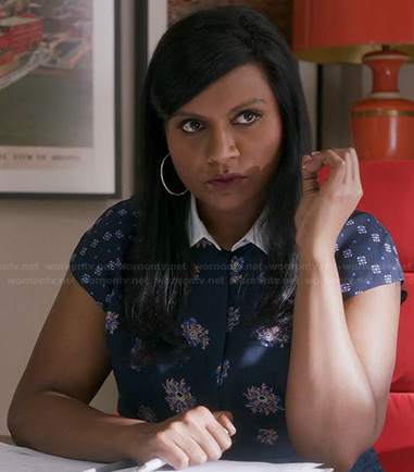 Mindy's navy blue mixed print collared top on The Mindy Project