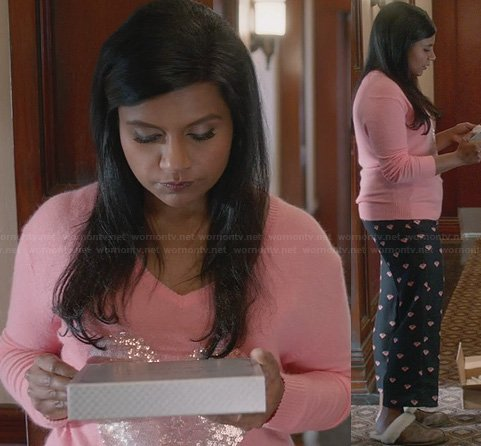 Mindy's pink sequin heart sweater and printed pajama pants on The Mindy Project