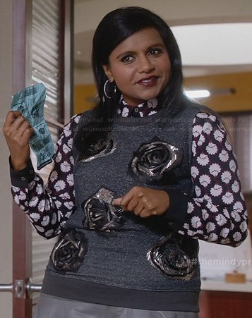 Mindy's printed shirt and beaded rose sleeveless sweater on The Mindy Project