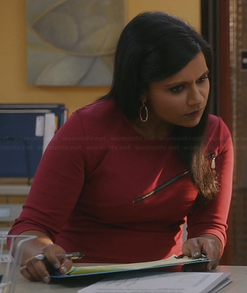 Mindy's red zip front dress on The Mindy Project