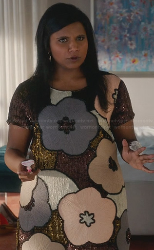 Mindy's sequin flower dress on The Mindy Project