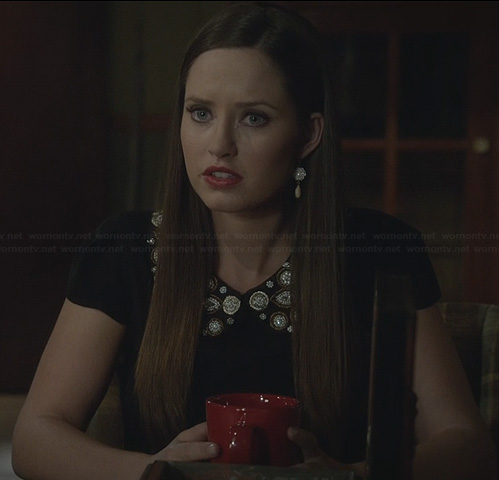 Olivia's black top with embellished collar on Ravenswood