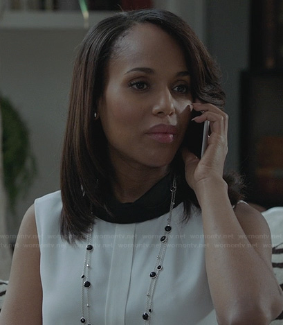 Olivia's white top with button back and contrasting neck on Scandal