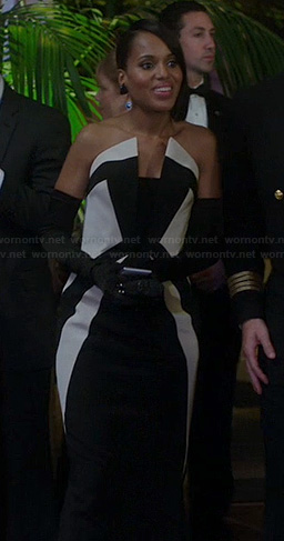 Olivia's black and white colorblock gown on Scandal