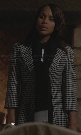 Olivia's black and white houndstooth coat on Scandal