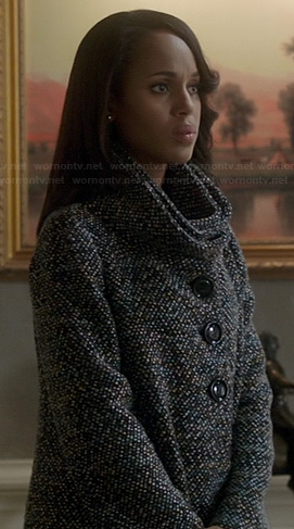 Olivia's grey tweed funnel neck coat on Scandal