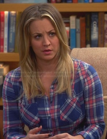 Penny's blue and red plaid shirt on The Big Bang Theory