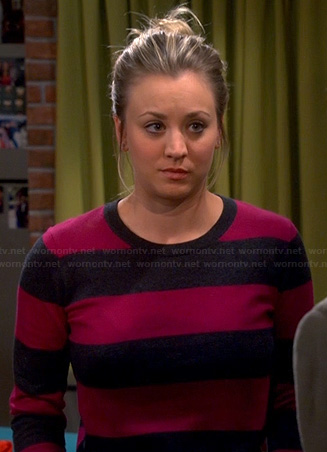 Penny's pink and navy striped sweater on The Big Bang Theory