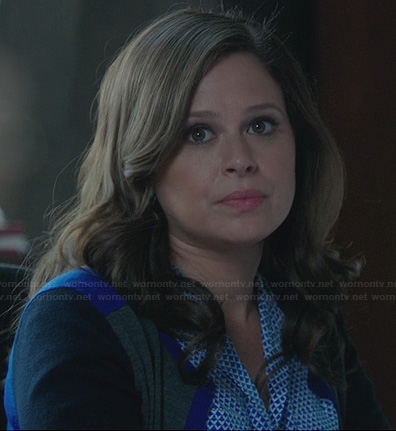 Quinn's blue geometric patterned blouse and colorblock cardigan on Scandal
