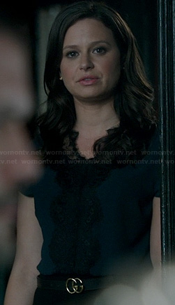 Quinn's navy lace top on Scandal