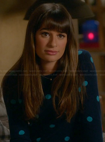 Rachel's blue polka dot sweater on Glee
