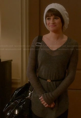 Rachel's brown sweater and white beanie on Glee
