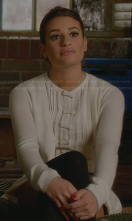 Rachels white bow front top on glee