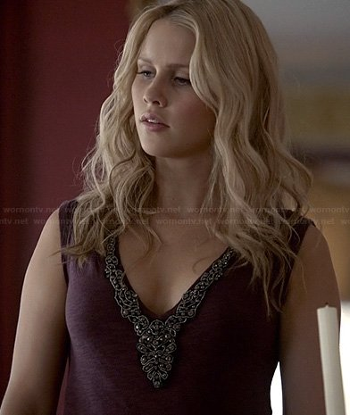 Rebekah's purple beaded top on The Originals