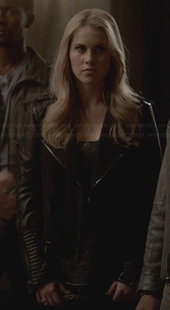 Rebekah's black ribbed leather jacket on The Originals