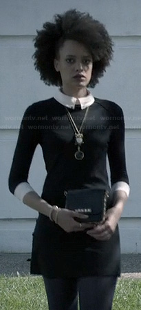 Remy's black and white shirtdress on Ravenswood