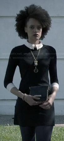 Remy's black dress with white collar at Miranda's funeral on Ravenswood