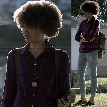 Remy's purple polka dot shirt and polka dot jeans on Ravenswood