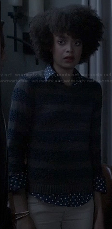 Remy's brown striped sweater and polka dot shirt on Ravenswood