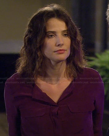 Robin's purple blouse with pockets on How I Met Your Mother