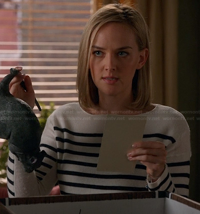 Robyn's black and white striped sweater on The Good Wife