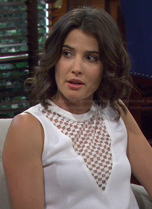 Robin's white checkerboard triangle top on How I Met Your Mother