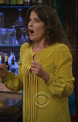 Robin's yellow pleated blouse on How I Met Your Mother