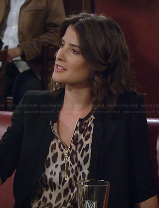 Robin's leopard print zip front top on How I Met Your Mother