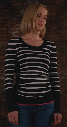 Robin's striped sweater with pink trim on The Good Wife