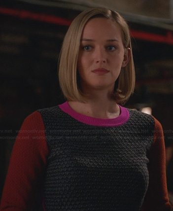 Robyn's grey, orange and pink sweater on The Good Wife